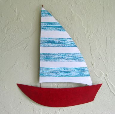Custom Made Handmade Upcycled Metal Sailboat Wall Art Sculpture In Blue And Red