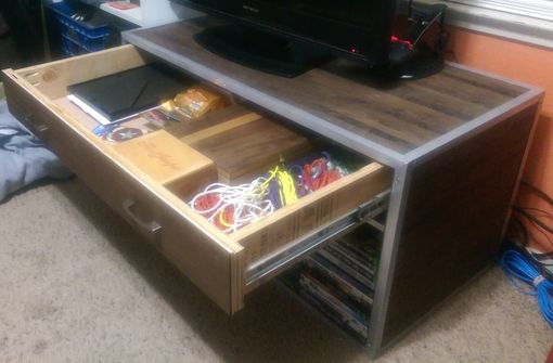 Custom Made Walnut Stripped Entertainment Center