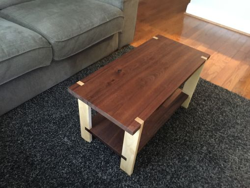 Custom Made Walnut And Maple Coffee Table