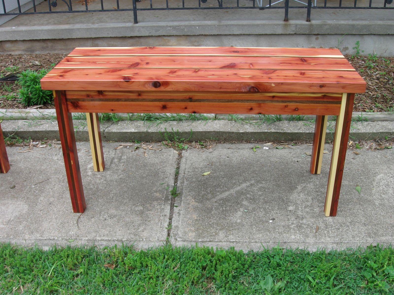 Custom Set 3 Red Cedar Tables W Walnut Inlay by Ryan s Wood