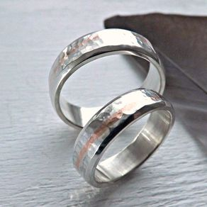 Unique Silver Wedding Band Set With Copper Inlay Matching Promise Rings His And Hers By