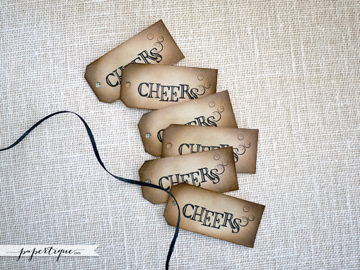 Custom Made Cheers Tags - Rustic Champagne And Wine Tags - Eco Friendly Wedding Favor Tags With Raffia