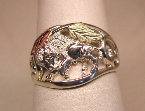 Custom Made Black Hills Gold On Silver Buffalo Filigree Ring