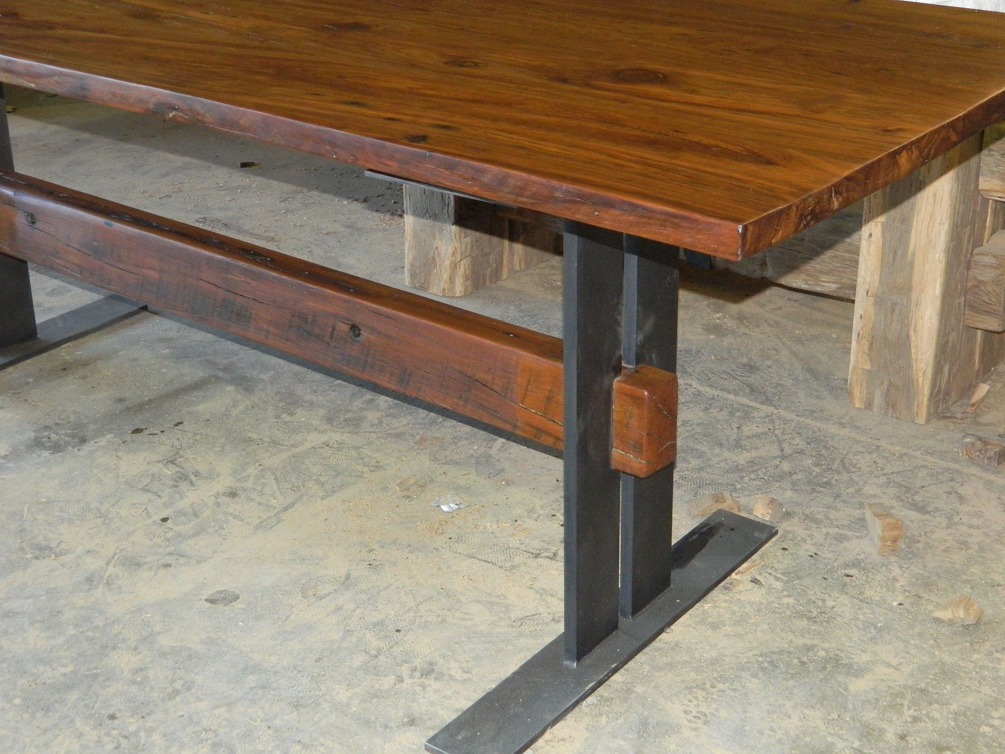 Hand Made Reclaimed Wood Table With Flat Iron Base by Antique