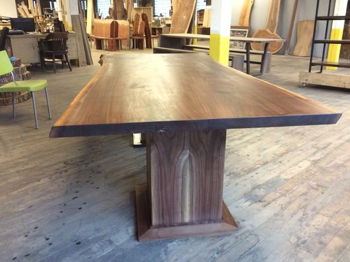 Custom Made Walnut Dining Table With Double Pedestal Base