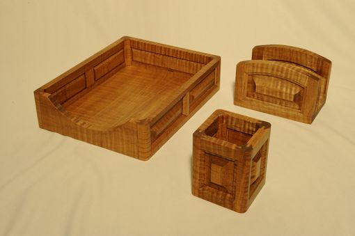 Custom Made Tiger Maple Desk Top Accessory Set