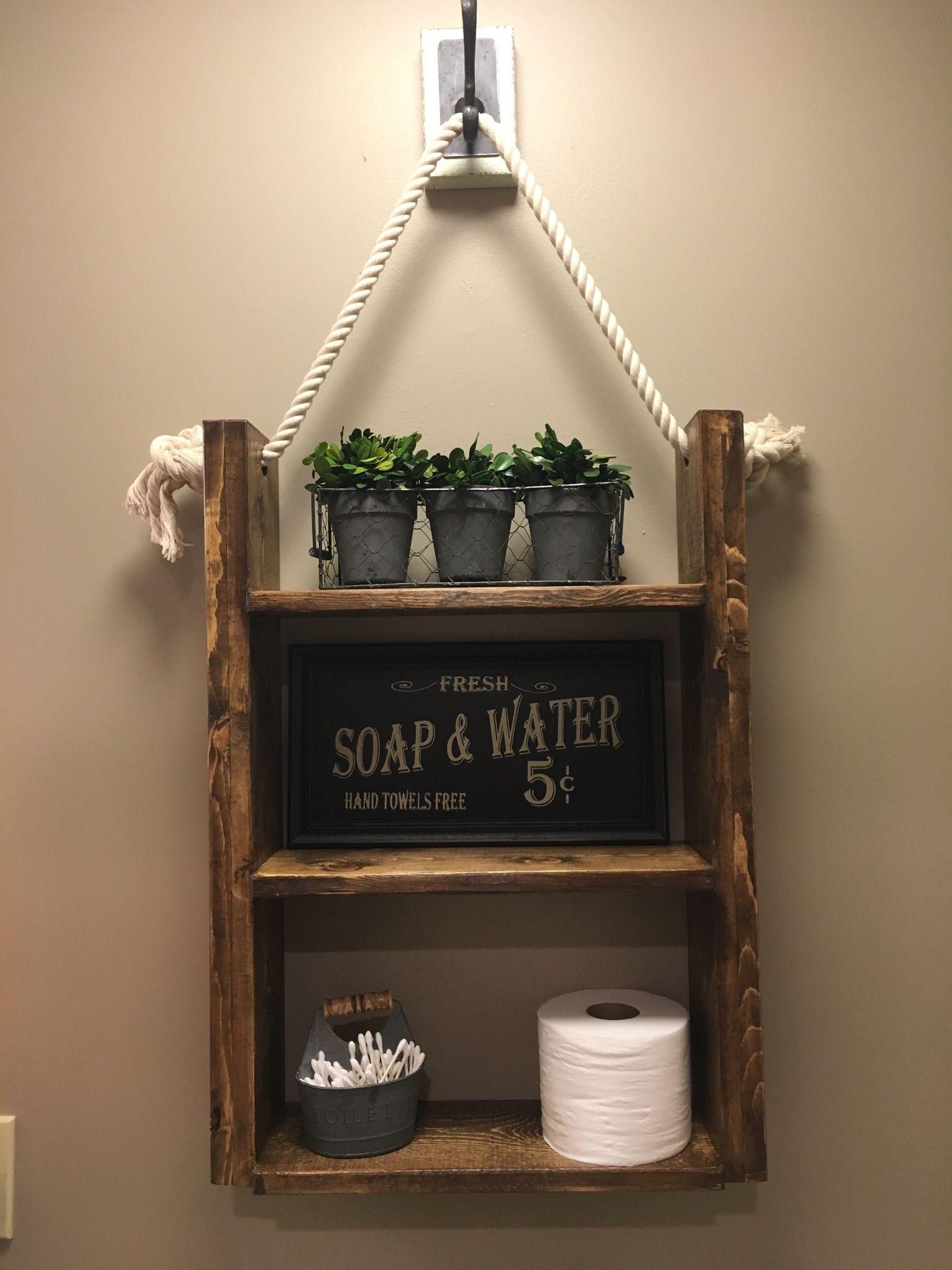 Custom Made Farmhouse Rustic Bathroom Shelf Hanging
