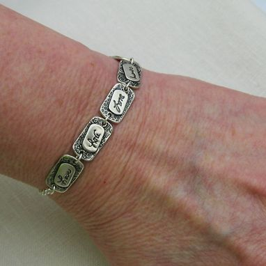 Custom Made Silver Handwriting Bracelet With Your Actual Handwriting