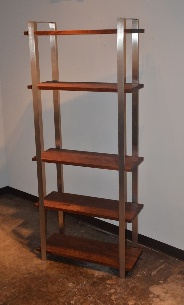 Metal Book Shelves ~ Handmade american walnut and stainless steel book shelf by