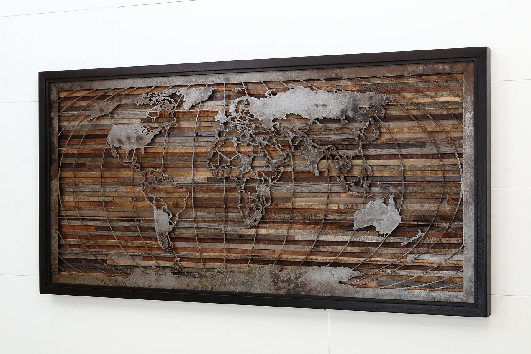 Custom made world map artwork made of old barnwood and natural steel custom made world map artwork made of old barnwood and natural steel 48 gumiabroncs Gallery