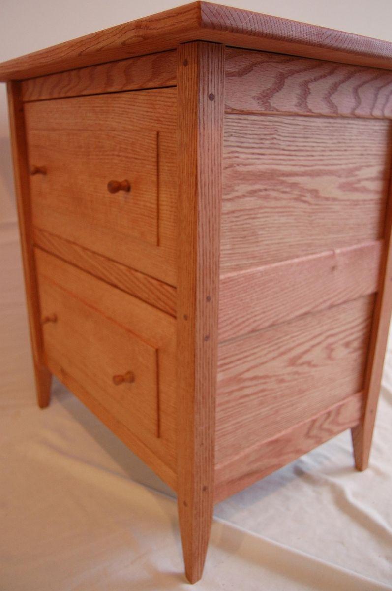 Custom Made Oak Shaker Style Two Drawer Nightstand
