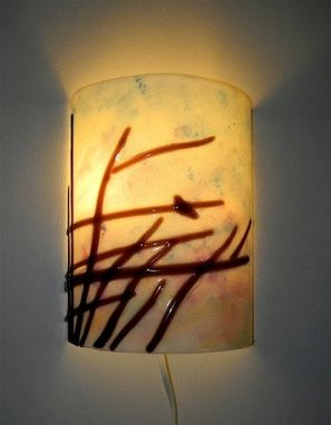 Custom Made Bird At Dawn - Fused Glass Wall Sconce