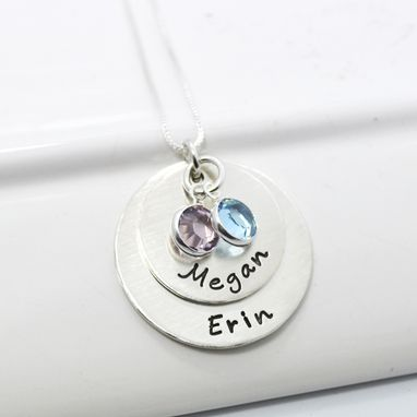 Custom Made Personalized Mother Of Two Stacked Necklace With Birthstones