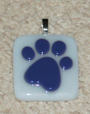 Custom Made Fused Glass Memorial Paw Print Pendant