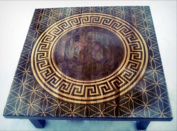 Hand Crafted Custom Stenciled Om Table Oak Butcher Block Sacred - Oak butcher block table top