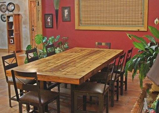 Custom Made Custom Reclaimed Barn Wood Dining Table With Steel Base