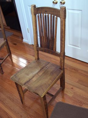 Custom Made Reclaimed Antique Barn Wood Rustic Spindle Back Chairs