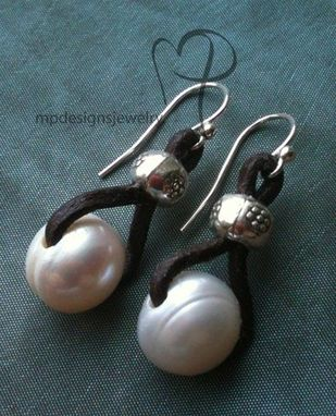 Custom Made Embrace ~ Freshwater Pearl Leather Sterling Silver Earrings