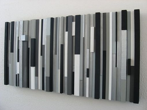 Custom Made Modern Wood Wall Art Sculpture Black White Greys Silver