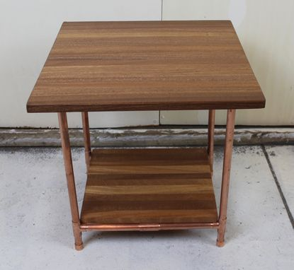 Custom Made Sapele & Copper Pipe Side Table With Wood Shelf