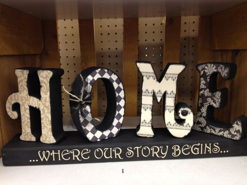 "Custom Made Wood Letters ""Home"" With Stand"