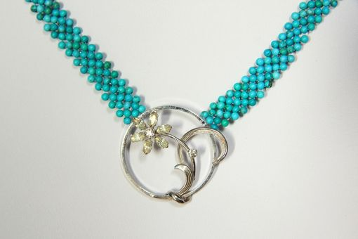 Custom Made Hand Woven Trendy Turquoise Flower Necklace