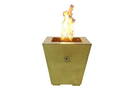 Custom Made Square Tapered Brass Fire Pit - Customizable By World Coppersmith