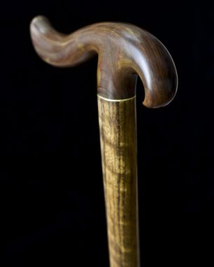 Custom Made Handmade Bird Walking Cane In Lignum Vitae And Shedua Wood With Brass - Walking Stick