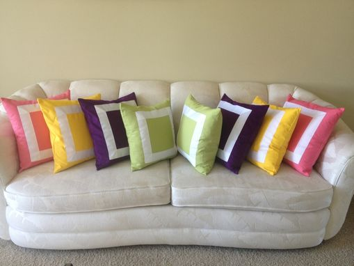 Custom Made Square Ribbon Embellished Pillow Cover