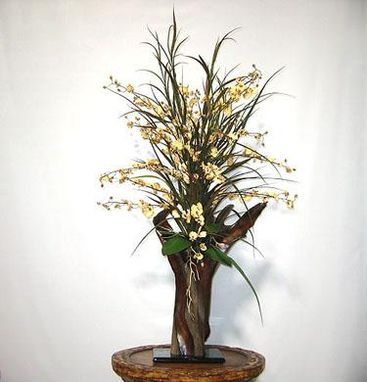 Custom Made Gold Oncidium In Redwood Vase