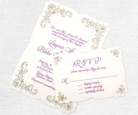 Custom Made Laser Cut Lace Wedding Invitation, Romantic And Vintage Inspired