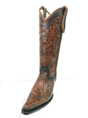 Custom Made Brown And Black Hand Tooled Cowboy Boot Made To Order To Your Size With Initials