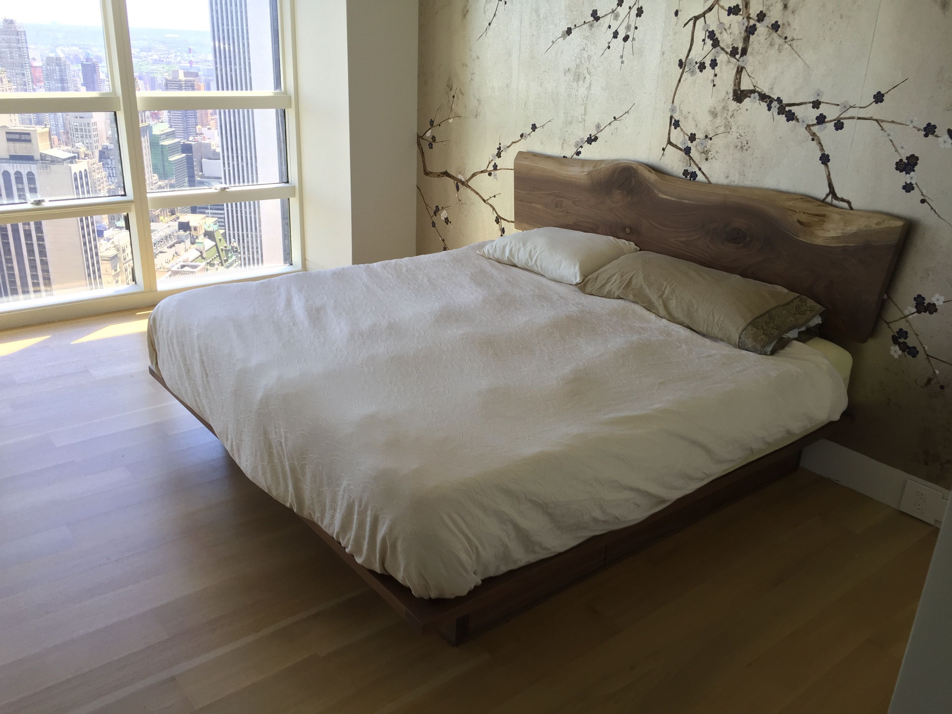 Buy A Custom Walnut Platform Bed With A Natural Edge Walnut Headboard And Storage Made To