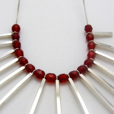 Custom Made Obelisk Necklace With Red Crystals In Sterling Silver By Cristina Hurley
