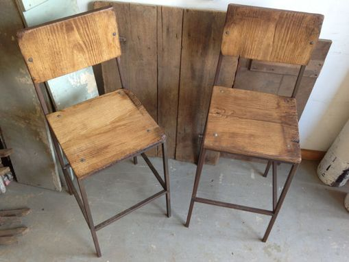 Custom Made Rustic Reclaimed & Sustainably Harvested Wood & Steel Bar Stool