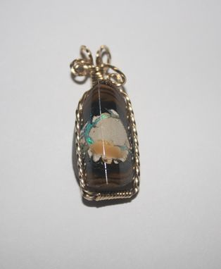 Custom Made Rare 26.95 Ct Bright Yowah Nut Opal In 14kt Rolled Gold Wire