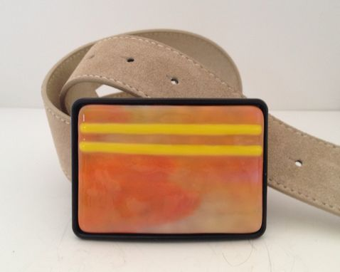 Custom Made Peach And Yellow Fused Glass Belt Buckle