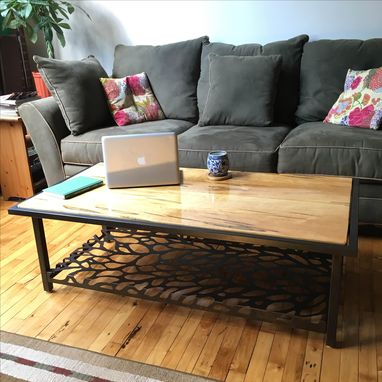 Custom Made Ambrosia Maple Coffee Table With Laser Cut Shelf
