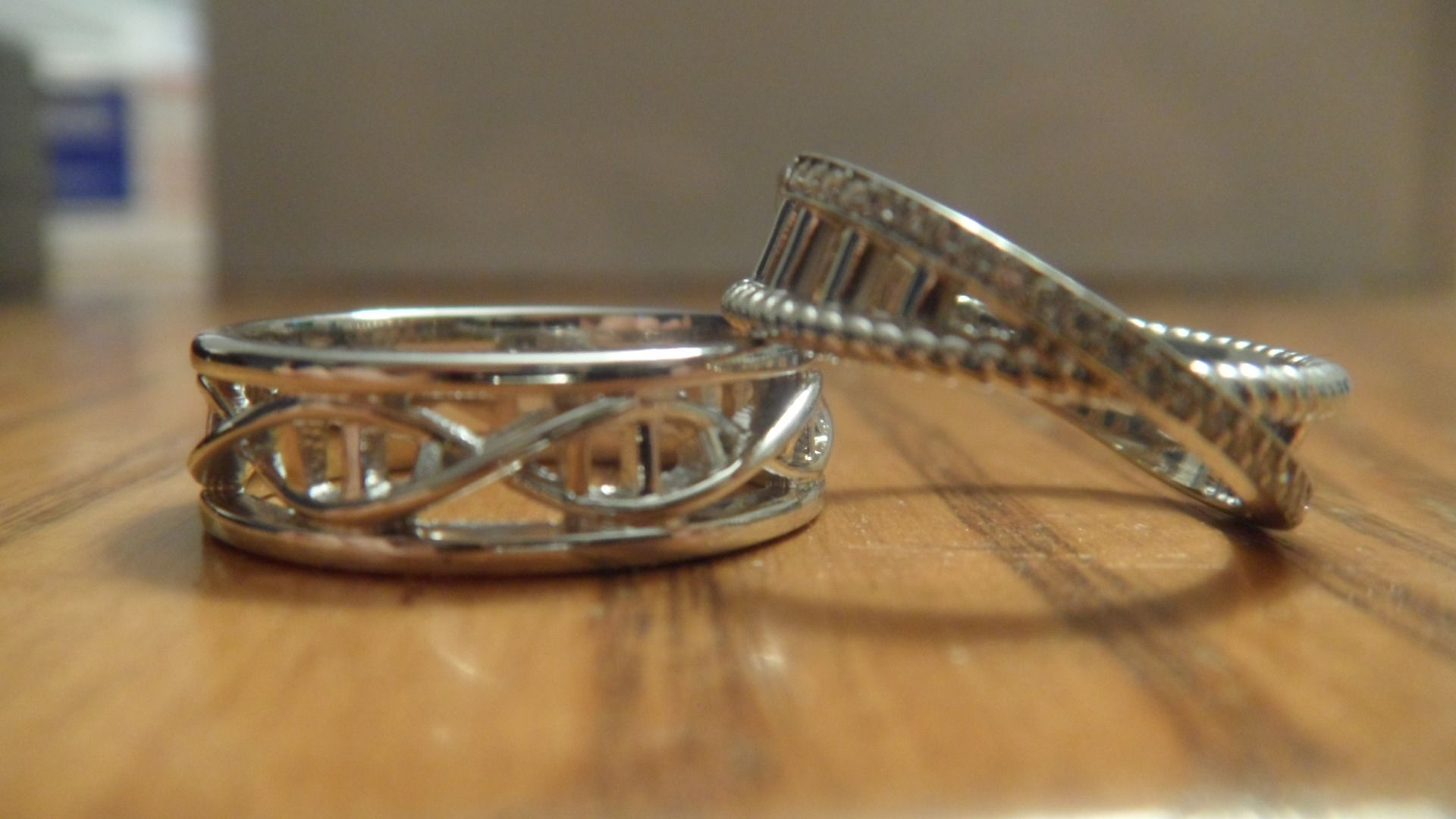 Hand Crafted Custom Dna Strand Wedding Bands In 14kt White Gold