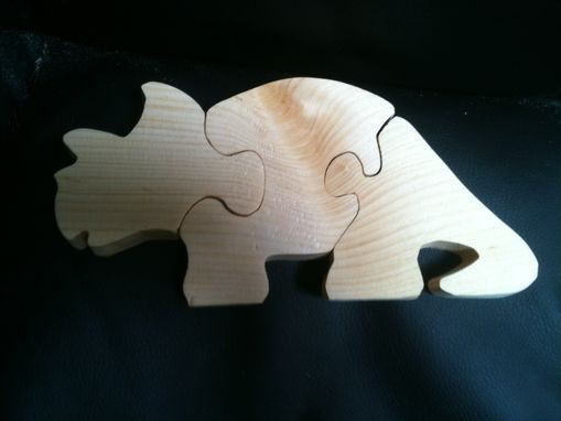 Custom Made Wooden 3 Piece Triceratops Jigsaw Puzzle