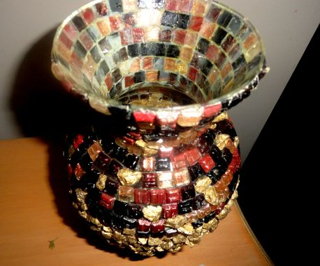Custom Made Mosaic Tile, Gold Nugget Vase W/Eraser Heads