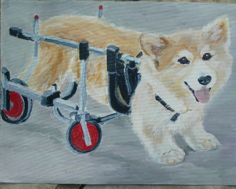 Custom Made Custom Pet Portrait Of Llyr, A Pembroke Welsh Corgi On Wheels