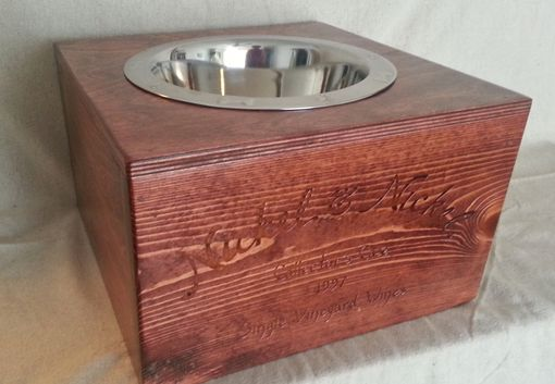 Custom Made Wine Crate Pet Bowl- Authentic Nickel & Nickel