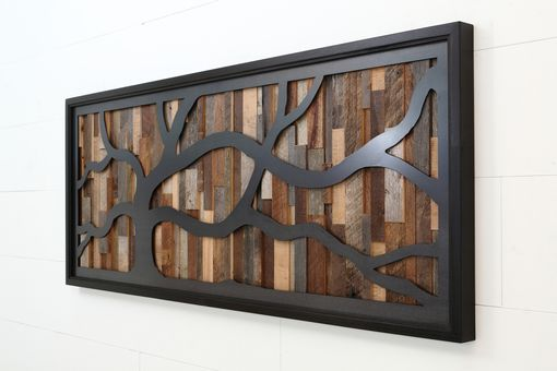 Custom Made Reclaimed Wood Wall Art Made Of Old Barnwood And Natural Black Steel 60x24