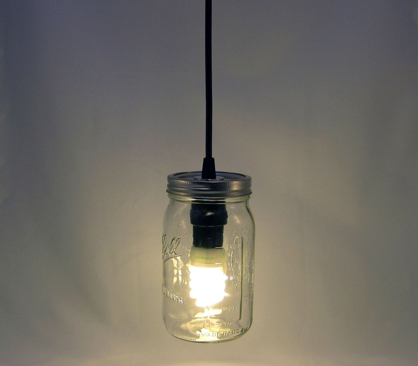 Custom ball mason jar hanging pendant light bmql svt by for Hanging lights made from mason jars