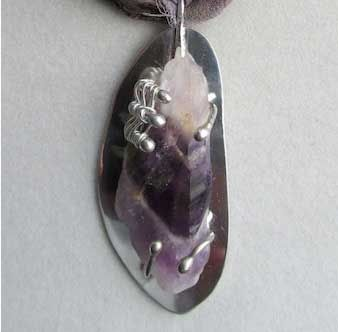 Custom Made Amethyst And Silver Necklace