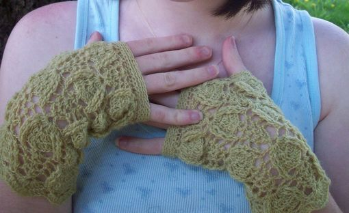 Custom Made Trilobite Lace Fingerless Mittens In Chartreuse