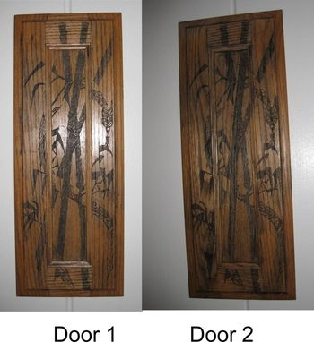 "Custom Made Cabinet Door - 18.5"" X 7"" Laser Engraved Bamboo Dragon"