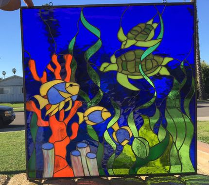 Custom Made Incredible Turtle, Fish And Coral Stained Glass Window