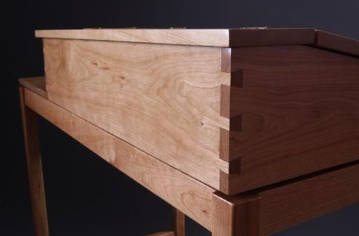 Custom Made Tall Writing Desk In Natural Cherry